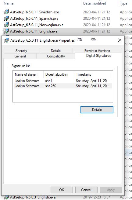 Properties dialog showing digital certificate