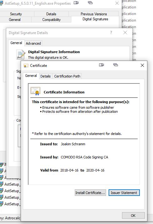 My personal digital certificate